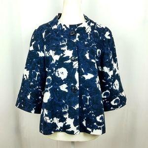 Lafayette 148 Blue White Floral Snap Button Blazer